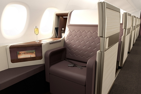 Business Class Seat In A Singapore Airlines Plane
