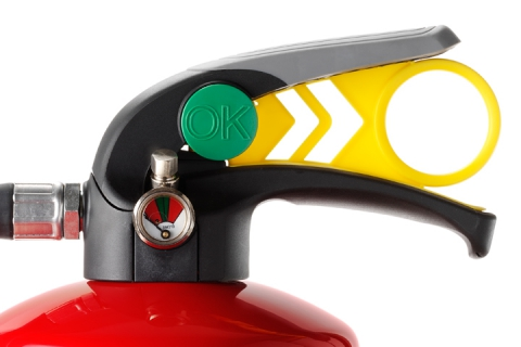close up of Chubb FX Extinguisher handle - DCA Design International